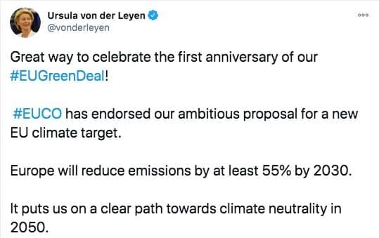 Tweet Ursula von der Leyen sobre el acuerdo europeo