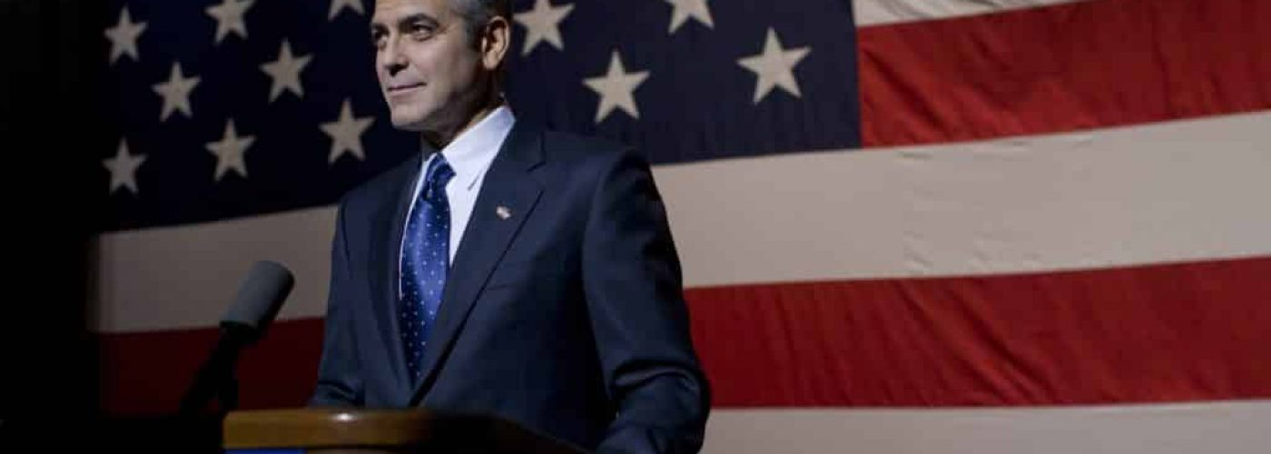 Governor Morris (George Clooney) delivers a major speech at Kent State University in Columbia Pictures' IDES OF MARCH.